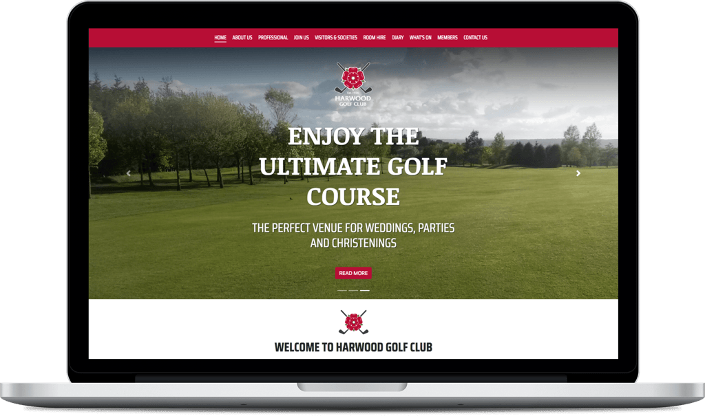 Harwood Golf Club website screenshot